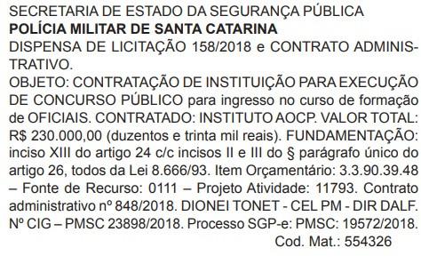 Reprodução do Diário Oficial do Estado de Santa Catarina em 29/08/2018