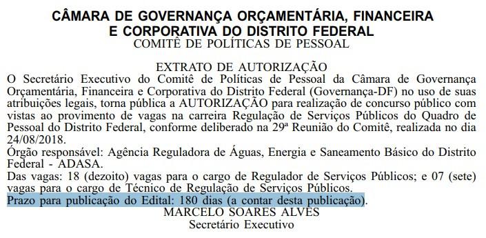 Reprodução do Diário Oficial do Distrito Federal em 13/09/2018