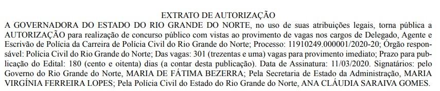 Concurso Polícia Civil RN é autorizado (Foto: Reprodução Diário Oficial do Rio Grande do Norte)