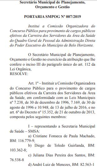 Comissão do concurso (Foto: Reprodução/ Diário Oficial)