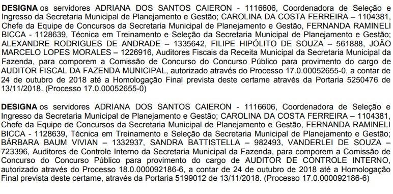 Reprodução do Diário Oficial de Porto Alegre em 23/01/2019