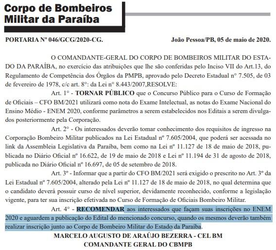 Reprodução do Diário Oficial da Paraíba em 6/05/2020