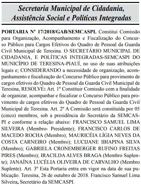 Reprodução Diário Oficial do Município de Teresina-PI em 29/10/2018