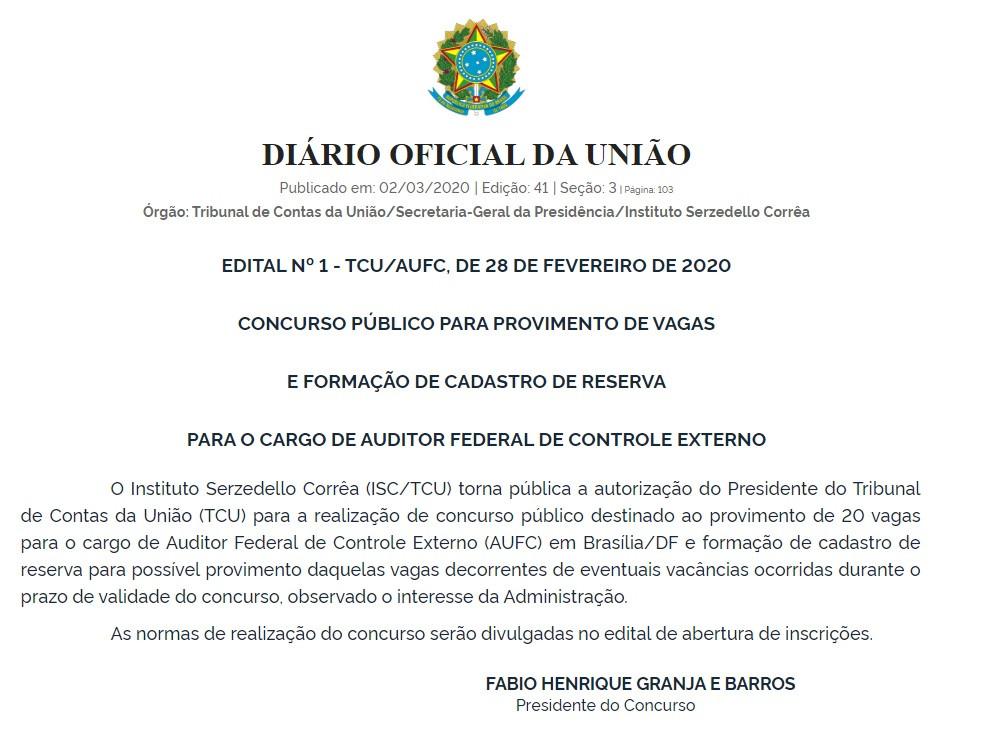 Concurso TCU (Foto: Reprodução Diário Oficial da União em 2/03/2020)