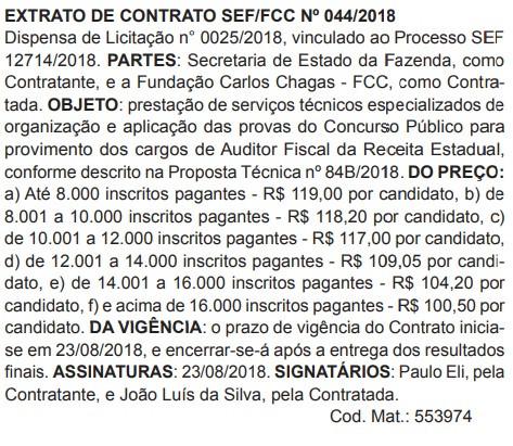 Reprodução Diário Oficial de Santa Catarina em 27/08/2018