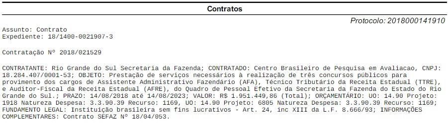 Reprodução Diário Oficial do Rio Grande do Sul em 14/08/2018
