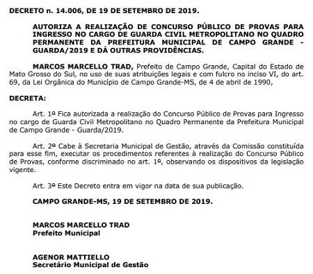 Concurso Guarda Metropolitano-MS é autorizado (Foto: Reprodução DOM de Campo Grande-MS)