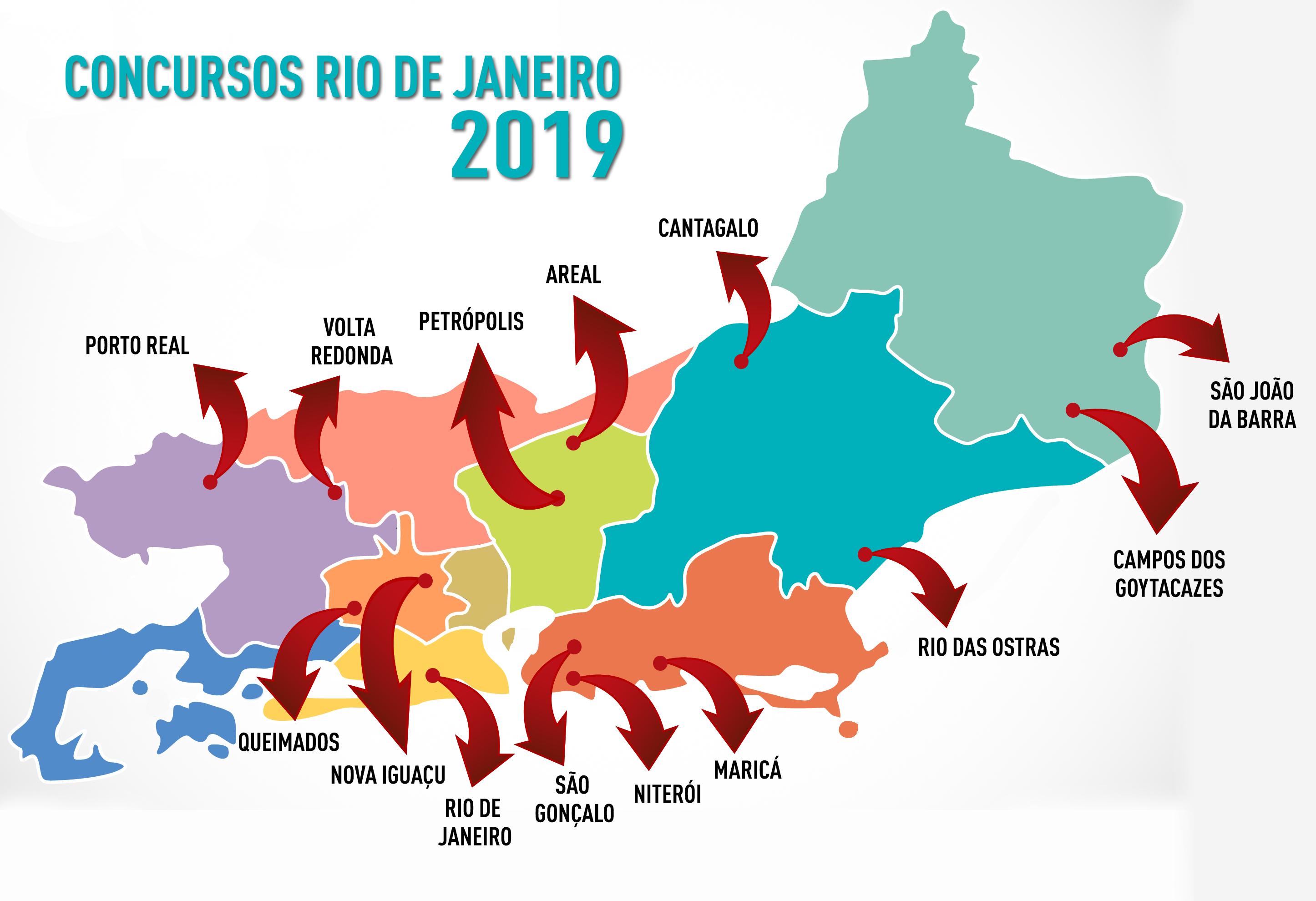 Mapa dos concursos Rio 2019