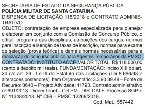 Reprodução do Diário Oficial do Estado em 13/09/2018