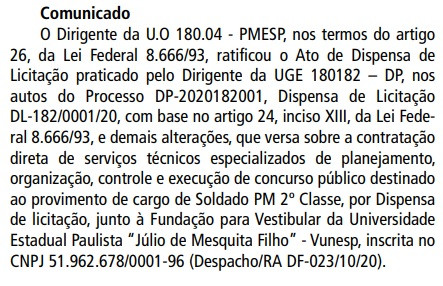 Reprodução Diário Oficial de SP em 19/02/2020