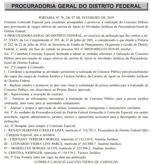 Reprodução do Diário Oficial do DF em 8/02/2019
