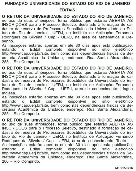 Reprodução do Diário Oficial do Estado do Rio de Janeiro