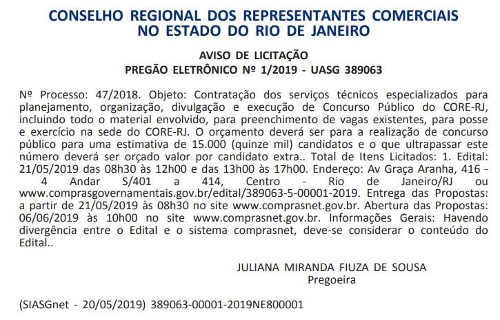 Reprodução do Diário Oficial da União em 21.05.2019