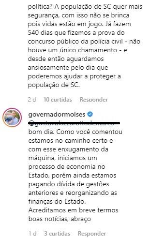 Reprodução do Instagram do governador Carlos Moises SC