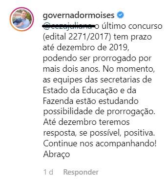 Reprodução do Instagram de Carlos Moisés - Governador de SC