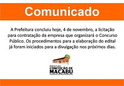 Comunicado da Prefeitura de Conceição de Macabu-RJ