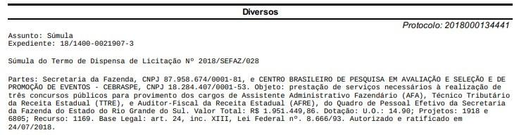 Concurso Sefaz-RS escolhe o Cebraspe (Reprodução Diário Oficial)