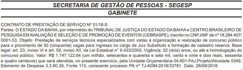 tj-ba assina com o cebraspe (Foto: Diário Oficial)