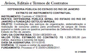 extrato contrato do concurso DPE-RJ