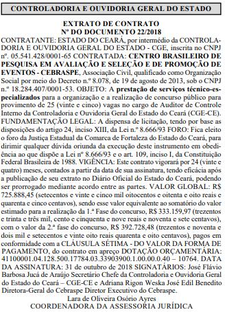 CGE-CE assina contrato com o Cebraspe