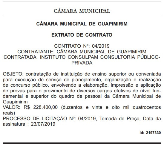 Publicação sobre concurso Câmara de Guapimirim-RJ no Diário Oficial