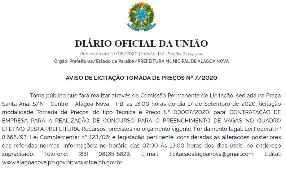 Publicação Diário Oficial