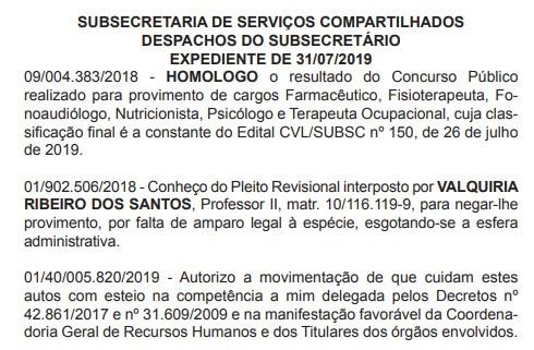 Homologação do Concurso SMS-RJ 2019