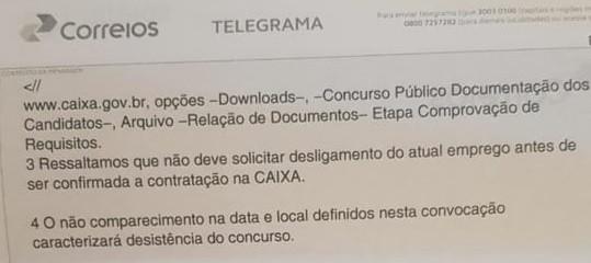 Veja detalhes do telegrama enviado (Foto: Arquivo Folha Dirigida)
