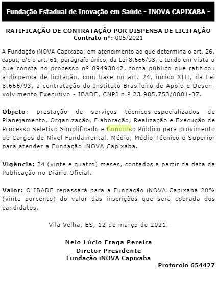 Concurso iNova Capixaba 2021 banca