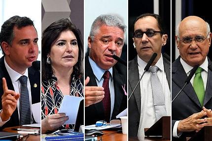 Rodrigo Pacheco (DEM-MG), Simone Tebet (MDB-MS), Major Olimpio (PSL-SP), Jorge Kajuru (Cidadania-GO) e Lasier Martins (Podemos-RS)