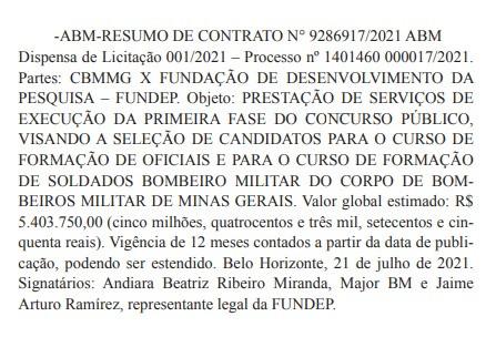 Extrato de contrato Fundep - concurso Bombeiros MG
