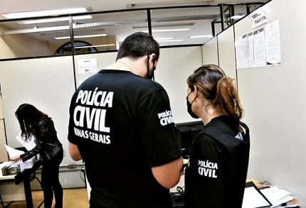 Policiais civis de Minas Gerais em atuação na delegacia