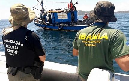 Servidores do Ibama e ICMBio em uma atividade em alto amr