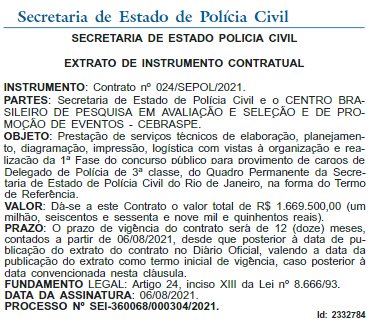Contrato Cebraspe para organizar concurso PC RJ de delegado