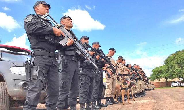 Foto de policiais do Tocantins perfilados com cães