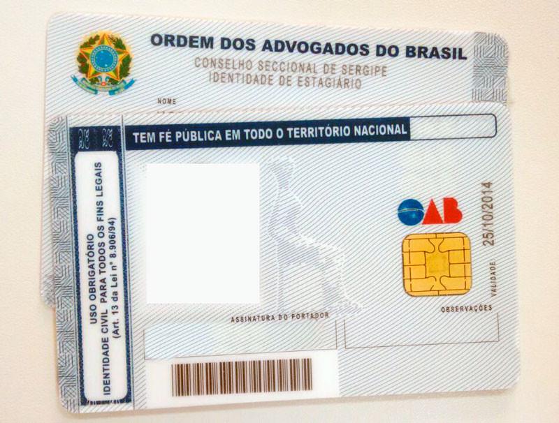 Carteira da OAB de estagiário